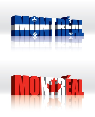 3D Montreal, Quebec (Canada)  Word Text Flag