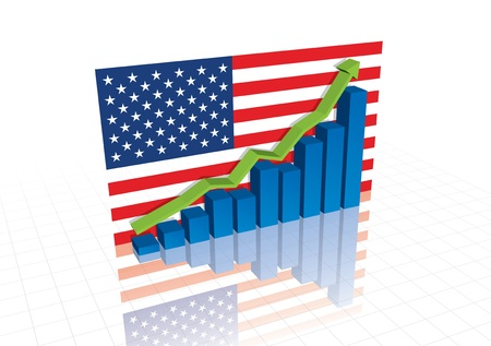 American (US) dollar, and stocks trading up economic recovery graph