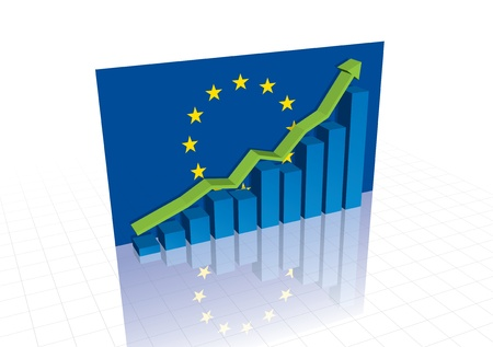 European Union (EU) euro, and stocks trading up economic recovery graph