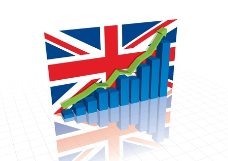 economic recovery: British (UK) pound, and stocks trading up economic recovery graph  Illustration