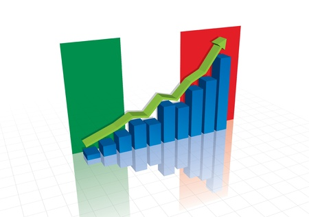 Italy (Euro), and stocks trading up economic recovery graph