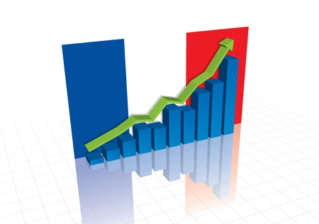 economic recovery: France (Euro), and stocks trading up economic recovery graph (vector)