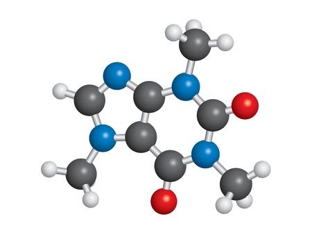 caffeine: Caffeine molecule ball and stick model - C8H10N4O2 Illustration
