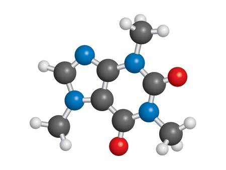 Caffeine molecule ball and stick model - C8H10N4O2 Çizim