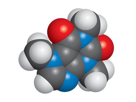 caffeine: Caffeine molecule space-fill model - C8H10N4O2 Illustration