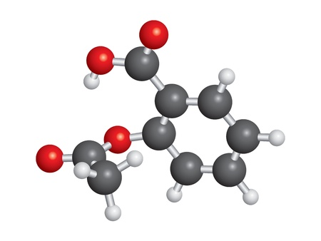 Aspirin (ASA) molecule ball and stick model - C9H8O4 일러스트