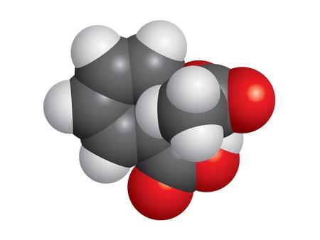 Aspirin (ASA) molecule space fill model - C9H8O4 Çizim