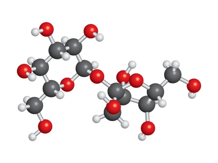 Sucrose (sugar) molecule ball and stick model - C12H22O11 Stock fotó - 19109754