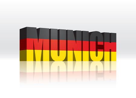 3D Vector Munich  Germany  Word Text Flag  Illusztráció