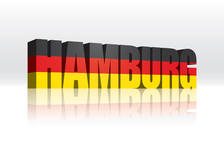 3D Vector Hamburg  Germany  Word Text Flag  Illusztráció