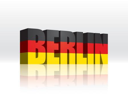 3D Vector Berlin  Germany  Word Text Flag