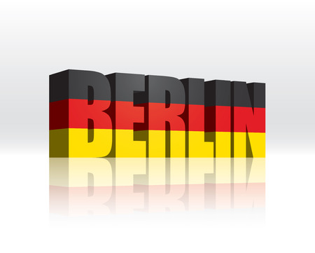 3D Vector Berlin  Germany  Word Text Flag  Vector