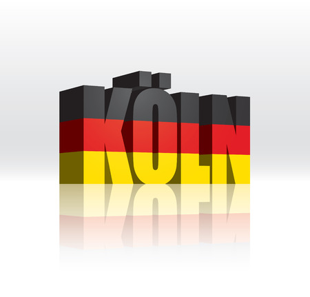 cologne: 3D Vector Koln  Germany  Word Text Flag