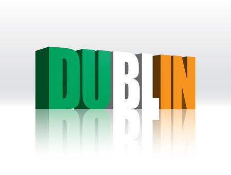 3D Vector Dublin  Ireland  Word Text Flag  向量圖像