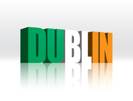 irish cities: 3D Vector Dublin  Ireland  Word Text Flag  Illustration