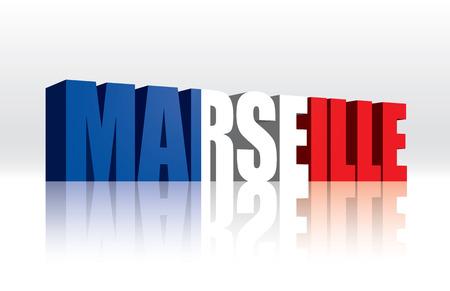 3D Vector Marseille  France  Word Text Flag  Illusztráció