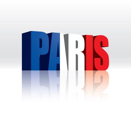 3D Vector Paris  France  Word Text Flag  Illusztráció