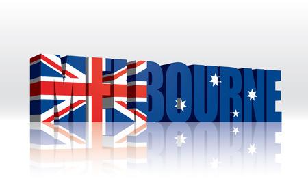 melbourne: 3D Vector Melbourne  Australia  Word Text Flag  Illustration