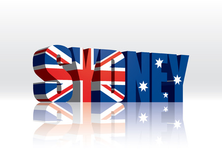 3D Vector Sydney  Australia  Word Text Flag
