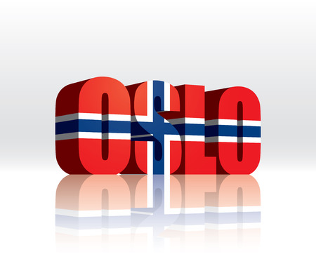 norway flag: 3D Vector Oslo (Norway) Word Text Flag  Illustration
