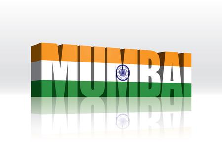 mumbai: 3D Vector Mumbai (India) Word Text Flag