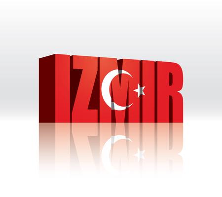 3D Vector Izmir (Turkey) Word Text Flag
