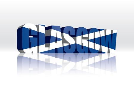 scotland flag: 3D Vector Glasgow  Scotland  Word Text Flag