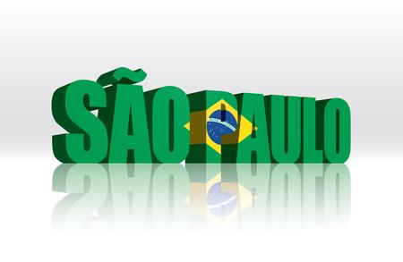 3D Vector Sao Paulo  Brazil  Word Text Flag