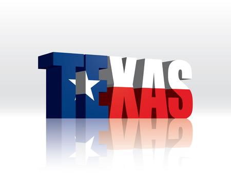 3D Vector Texas (USA) Word Text Flag  Illustration