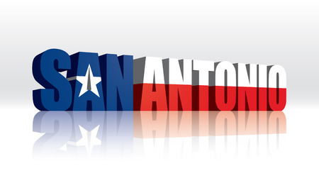 3D Vector San Antonio (Texas) Word Text Flag  Vector