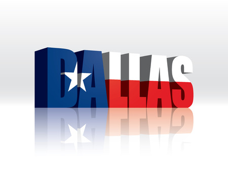 3D Vector Dallas (Texas) Word Text Flag  Vector