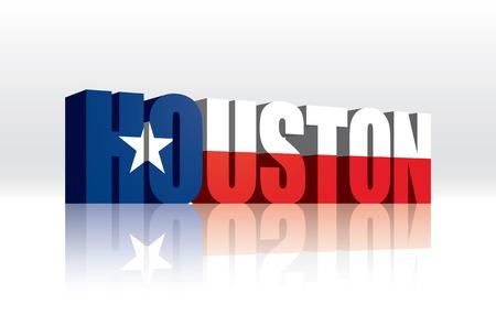 3D Vector Houston (Texas) Word Text Flag