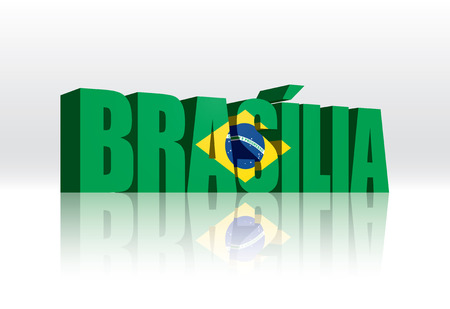 brasilia: 3D Vector Brasilia (Brazil) Word Text Flag