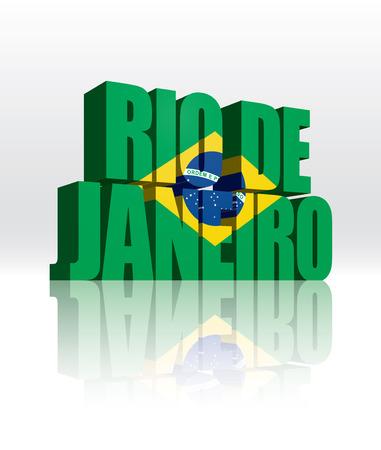 3D Vector Rio de Janeiro (Brazil) Word Text Flag