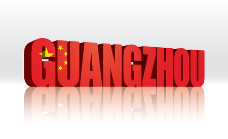 3D Vector Guangzhou (China) Word Text Flag