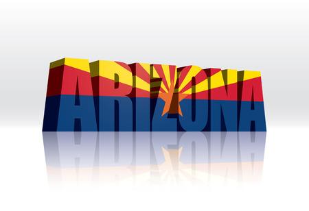 arizona: 3D Vector Arizona (USA) Word Text Flag