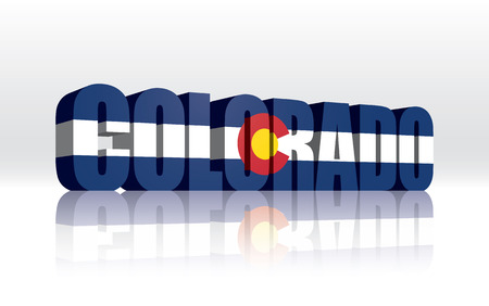 3D Vector Colorado (USA) Word Text Flag