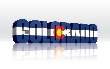 colorado state: 3D Vector Colorado (USA) Word Text Flag