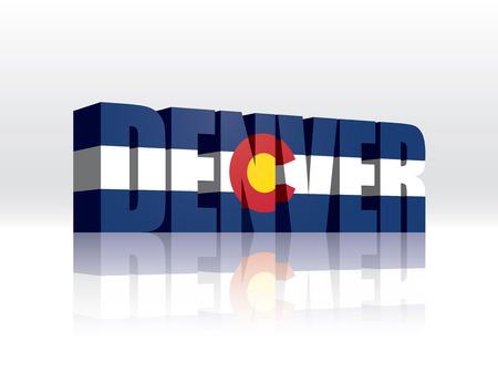 Денвер: 3D иллюстрация Денвер (Колорадо) Слово Текст Флаг