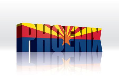 3D Vector Phoenix (Arizona) Word Text Flag