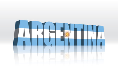 extruded: 3D Vector Argentina Word Text Flag  Illustration
