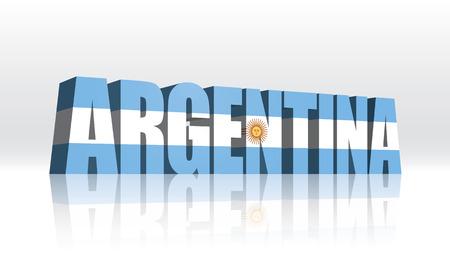 bandera argentina: Texto de la bandera del vector 3D Palabra Argentina