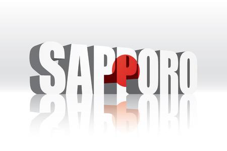 3D Vector Sapporo (Japan) Word tekst Vlag