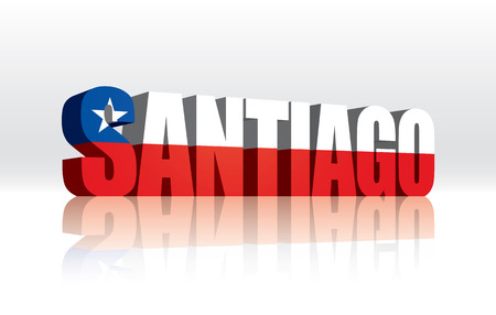 santiago: 3D Vector Santiago (Chile) Word Text Flag  Illustration