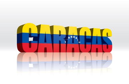 venezuelan: Texto de la bandera del vector 3D Caracas (Venezuela) Word