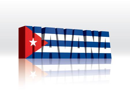 3D Vector Havana (Cuba) Word Text Flag  Illusztráció