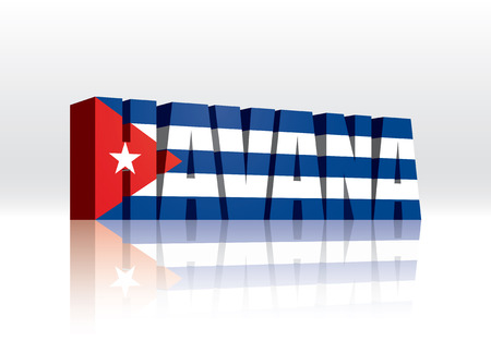 havana: 3D Vector Havana (Cuba) Word Text Flag  Illustration