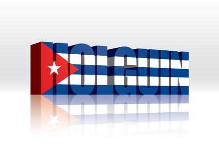 3D Vector Holguin (Cuba) Word Text Flag