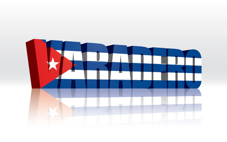 3D Vector Varadero (Cuba) Word Text Flag