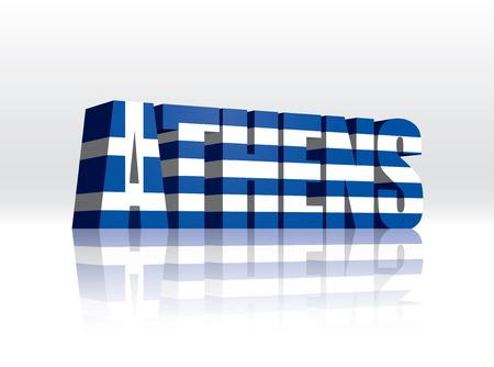 3D Vector Athens (Greece) Word Text Flag  Illusztráció